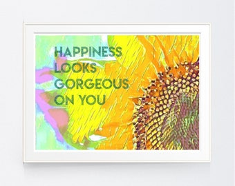 WALL ART Print, Instant Download, SUNFLOWER, Printable Art, Printable Quotes, Home Decor, Motivational, Printable Wall Art