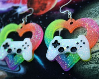 Neon Rainbow UV Glitter Resin Gamer Statement Earrings