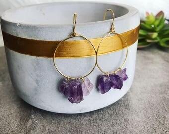 Amethyst earrings, Amethyst crystal thin hoop earrings, February birthstone gift for her