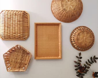 Vintage Basket Set, Set of Wicker Baskets, Set of Rattan Baskets, Basket Wall Set, Retro Basket Set, Retro Wicker Baskets
