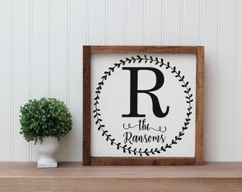 Last Name Initial Wooden Sign With Frame   Wedding Gift   Anniversary   House Warming   Dining   Kitchen   Hand Painted Wood   Square