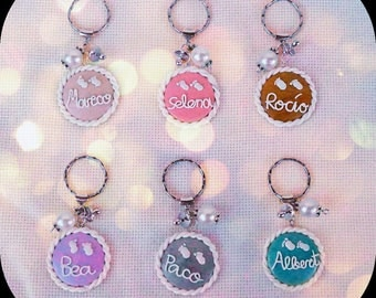 Personalized keychains with the name of your babies inside