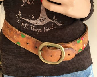 """Hand Tooled & Painted Leather Belt Light Brown Vintage with Solid Brass Buckle Adjustable 27"""" to 35"""""""