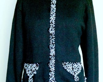 Black Vintage Sweater Jacket