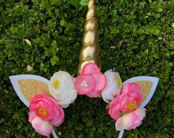 Pink Poppy Unicorn Headband || Whimsical Pink White Gold Unicorn Headband || Gold Unicorn Horn Headband || Unicorn Party Headband