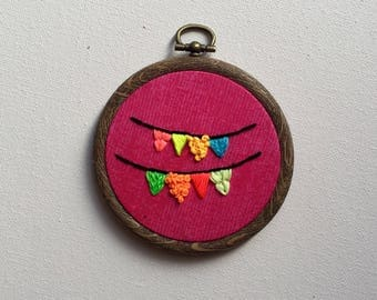 Bright bunting embroidery hoop art, wall hanging, decor, nursery, child's bedroom, celebration