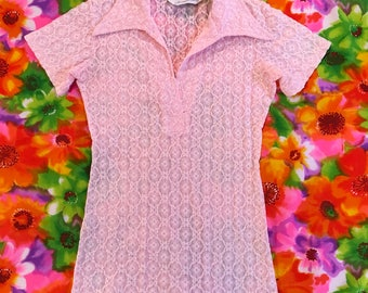 Vintage Pastel Pink Sheer Stretch Floral Lace Short Sleeve Shirt Top With Butterfly Collar Herman Geist