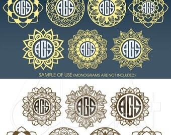 Mandala Monogram Frames Vector Digital Cut Files Svg Dxf Eps Png Silhouette SCAL Cricut Printable Download Paper Vinyl Die Cutting JB-740