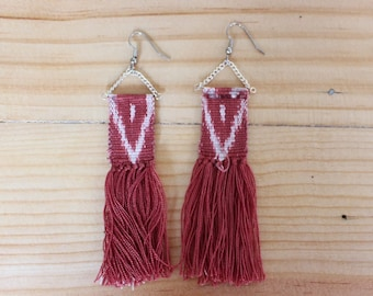 Handwoven Fringe Ikat Earrings Natural Botanical Dyes Fair Trade Guatemala