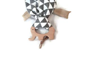 Wooden rattle teething baby - white-grey Scandinavian spirit - bunny ears ring raw elephant - cotton and fabric blanket