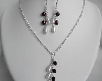 Necklace / earrings Brown and ivory