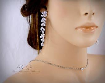 Wedding Earrings Zirconia Earrings Rhinestone Earrings Bridal Earrings Wedding Jewelry Bridal Jewelry Wedding Accessory Ju