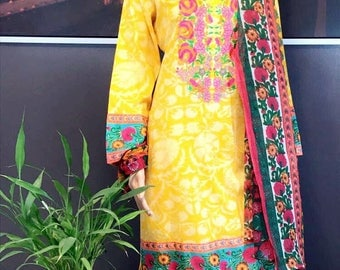 Pakistani lawn 3 piece dress