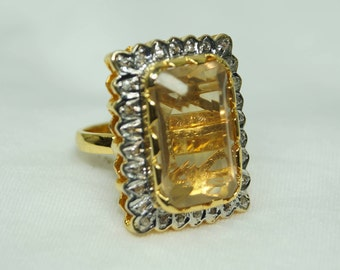 Victorian style 1.20ctw rose cut diamonds natural citrine sterling silver Statement Wedding Ring - 2651705