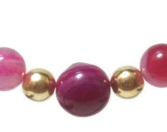 Gem hooped earrings - Pink Agate