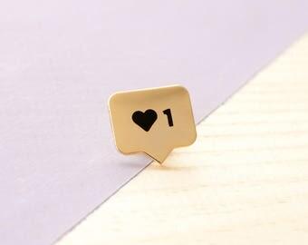 Instalike Enamel Lapel Pin // gold / black / Instagram / social media / like / love / heart / Instagram pin