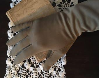 Tan vintage ladies 3/4 length gloves.  Elegant and romantic
