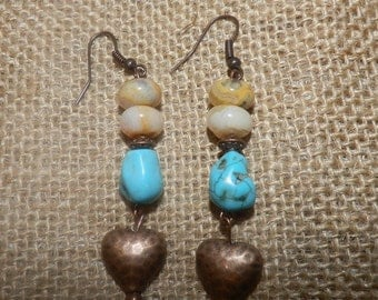 Copper earrings/turquoise beads/turquoise earrings/natural stone jewelry/hammered copper/boho earrings/heart charms/southwestern jewelry