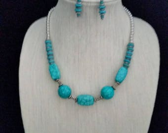 Turquoise and Silver Necklace with Pierced Earrings Set