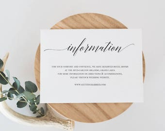 Wedding Information Card Template Wedding Details Card  Template Details Card Printable Details Card Modern Calligraphy Details Card
