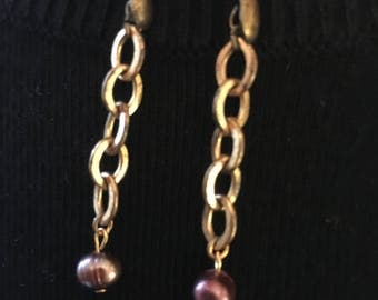 Vintage chain and freshwater pearl earrings