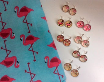 Earrings cabochon 20 mm Flamingo Pink