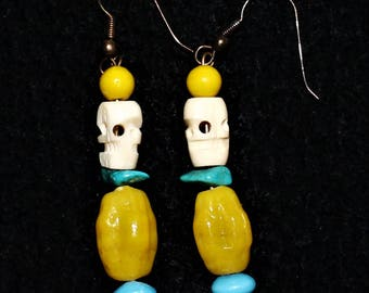 Handmade Earrings~Turquoise and Hand Carved Skull Beads by Tibetan Monks