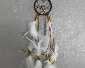 Small Leather DreamCatcher, Feather Dreamcatcher, Boho Dreamcatcher, Boho Decor, Mini Dreamcatcher