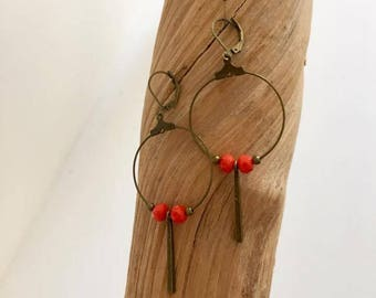 Dangle earrings - orange - pendant - bronze