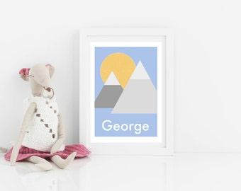 Customisable personalised art print, kids art print, mountains print, nursery art, scandi kids bedroom art