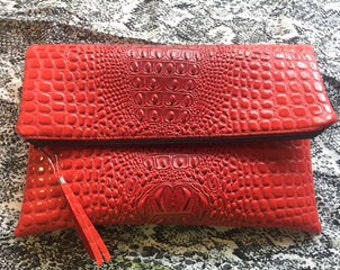 Foldover Red Faux Alligator Zippered Clutch