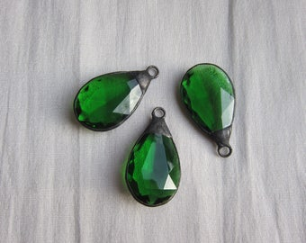 Hand Soldered Green Chandelier Crystal Teardrop Pendant