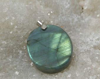 Green yellow LABRADORITE 21,73 Gr-Oval Pendant