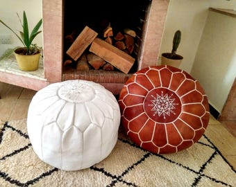Moroccan pouf //Set of 2 Moroccan pouf //Handmade Leather pouffes//  Leather Ottoman  // 100 % Handmade // Genuine Leather // BROWN + WHITE