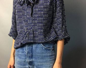 Silk vintage blouse Designer clothing Long Sleeve blouse Print blouse Silk shirt Vintage silk Siize XS-S Secretary blouse Blue