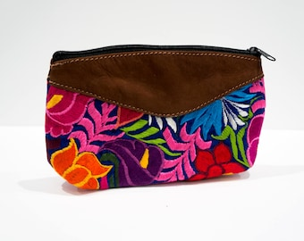Decorative stitched cosmetic bag