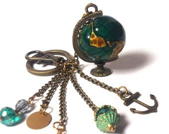 Keychain Globe - Keychain Planet Earth - Keychain For Men and Women - Pendant World / Anchor / Beads - Bronze Necklace