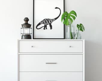 Dinosaur Print, Diplodocus, Bedroom Print, Nursery Decor, Bedroom Decor, Boys Room Print, Wall Art, Kids Room Decor, Kids Room, Rustic Art