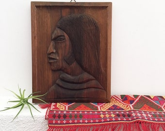 Vintage Wood Native American Carving - hand carved wall art - Bohemian Boho Eclectic Jungalow Decor Style Home - South - face portrait #0348