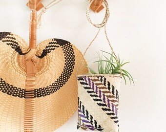 Small Woven Bag - Bohemian Jungalow Boho Eclectic Decor Style Home - indoor air plants crazy plant lady - planter geometric tribal #0613