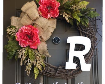 Year round monogram wreath for front door - Peony wreath with initial - everyday wreath with burlap bow - all year wreath - front door decor