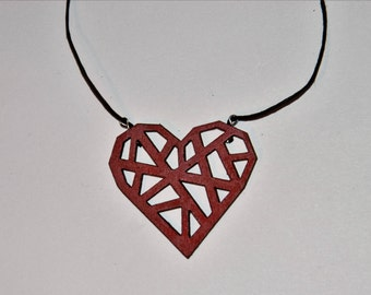 Necklace heart of wood