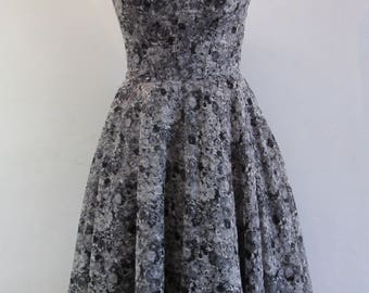 Grey and black lace dress with sweetheart neckline