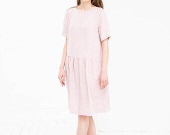 Pink Linen Dress, Loose Linen Dress, Plus Size Linen Dress, Light Pink Linen Maxi Dress, Casual Summer Dress, Pink Dress, Soft Linen Dress