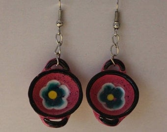 Hand Painted Minature Bowl Earrings