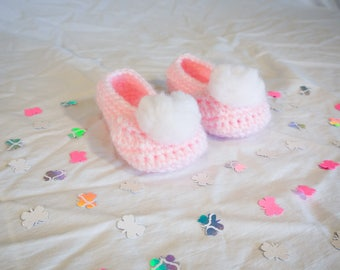 Pink Pixie Crocheted Baby Booties