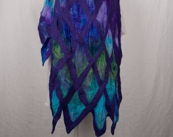 Nuno felted scarf, merinowool and silk gauze, purple/blue/turkois/green
