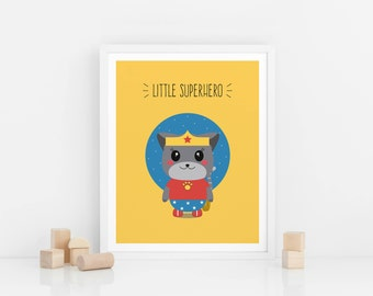 Printable wall art, Digital Download, Little superhero, wonderwoman print, nursery prints, kids art prints, animal art, animal illustration,