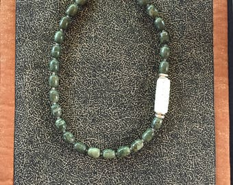 Green Peruvian opal necklace with Chinese jade feature