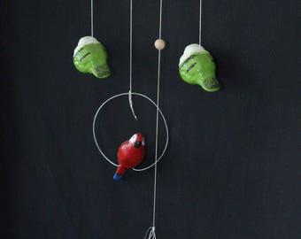 Ceramic hanging bird for balconies and porch, Handmade. Artesanía Paraguaya